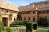 One of the courtyards of the Umaid Bhawan Palace. Note the anti-pigeon netting